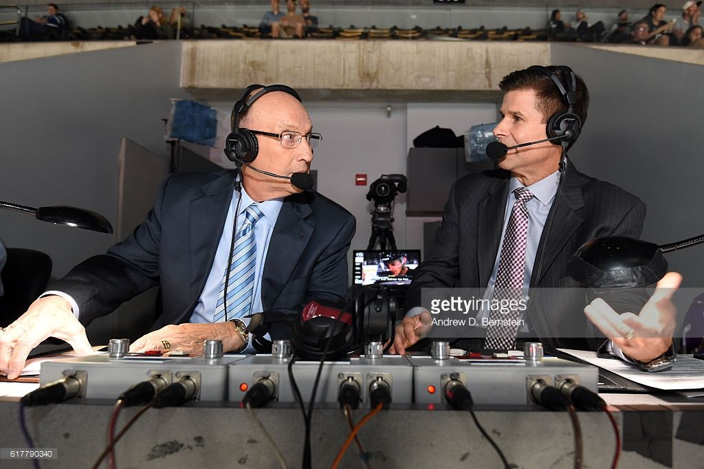 Los Angeles Kings Broadcasters Bob Miller and Jim Fox call a game between the Los Angeles Kings and the Vancouver Canucks at STAPLES Center on October 22, 2016 in Los Angeles, California. #LosAngelesKings #LAKings #WeAreAllKings