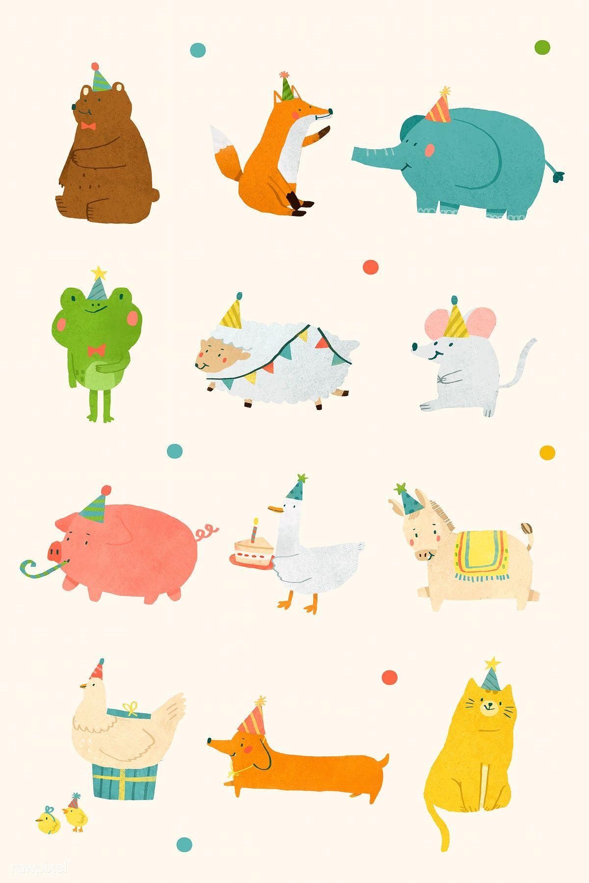 Download premium vector of Festive animals doodle element set vector