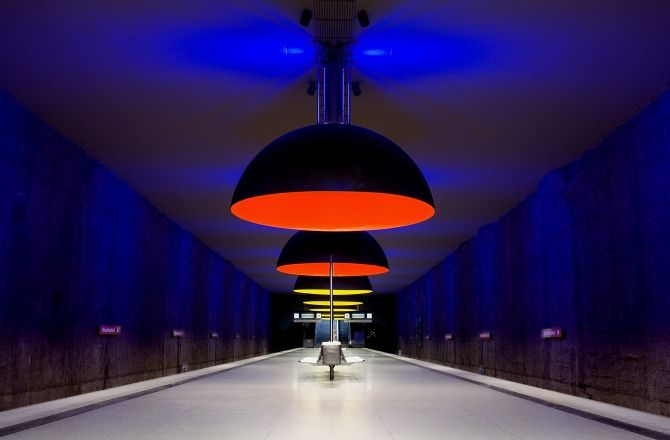 stockholm sweden subway stations | Westfriedhof station light ...