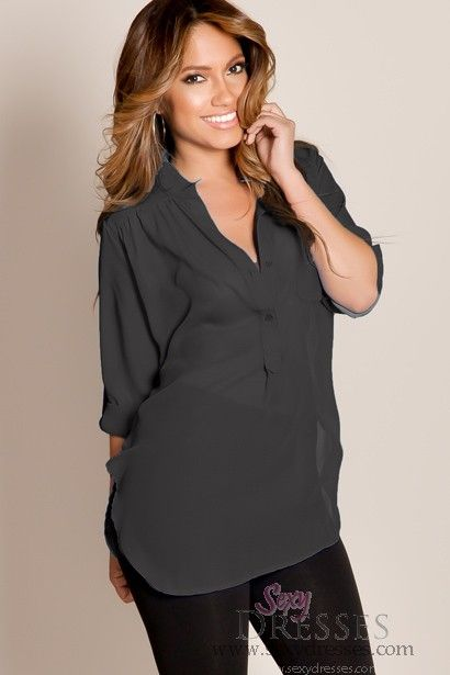 Black Casual Chic Flowy Solid Color Half Sleeve Sheer Top