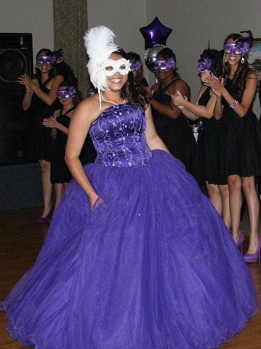 Gorgeous Masquerade Event With Purple Dress And White Custom Mask