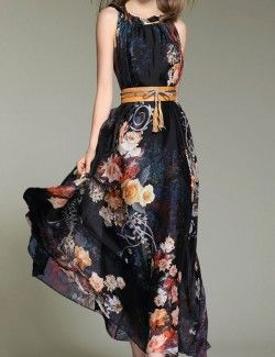 Rose Floral Printed Black Maxi Dress for Summer