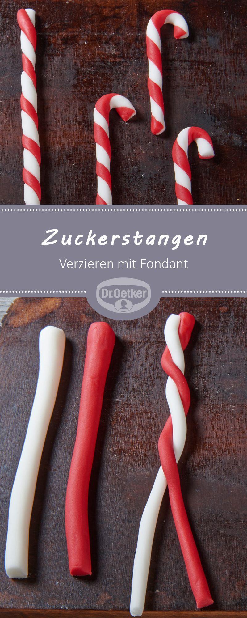 Verzieren mit Fondant - Zuckerstangen: Kleine Zuckerstangen aus Fondant geformt zur Dekoration von Plätzchen oder Lebkuchenmännchen #fondant