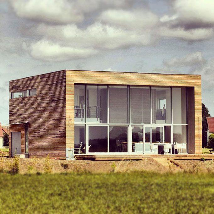 maison ossature bois, maison toit plat, maison design, extension en