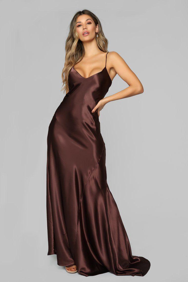 Figure Hugging Satin Maxi Dress - Brown | Satin maxi dress, Brown maxi  dresses, Silk prom dress