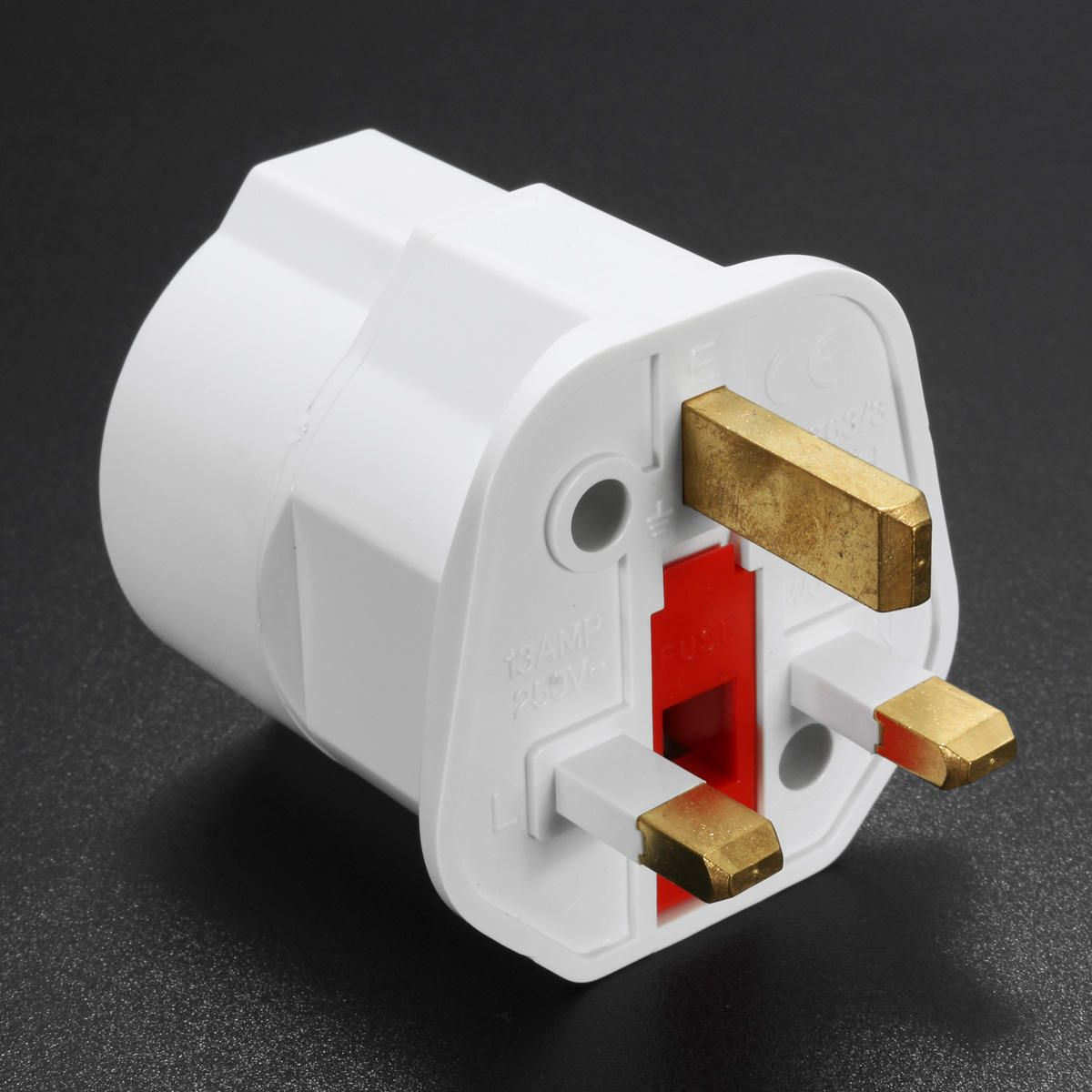 European 2 Pin To Uk 3 Pin Plug Adaptor Eu Schuko Travel Mains