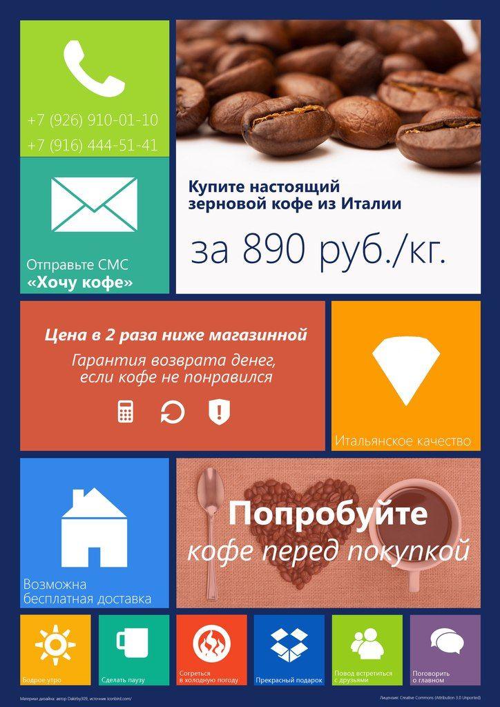Плакат для рекламы кофе