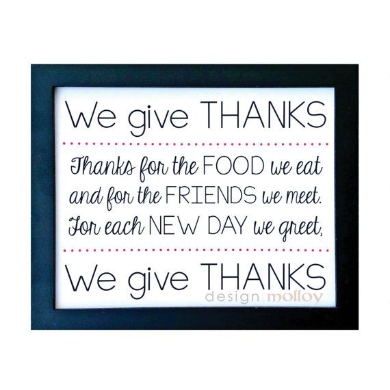 Give Thanks Dinner Prayer Kitchen Wall Art Kitchen by ...