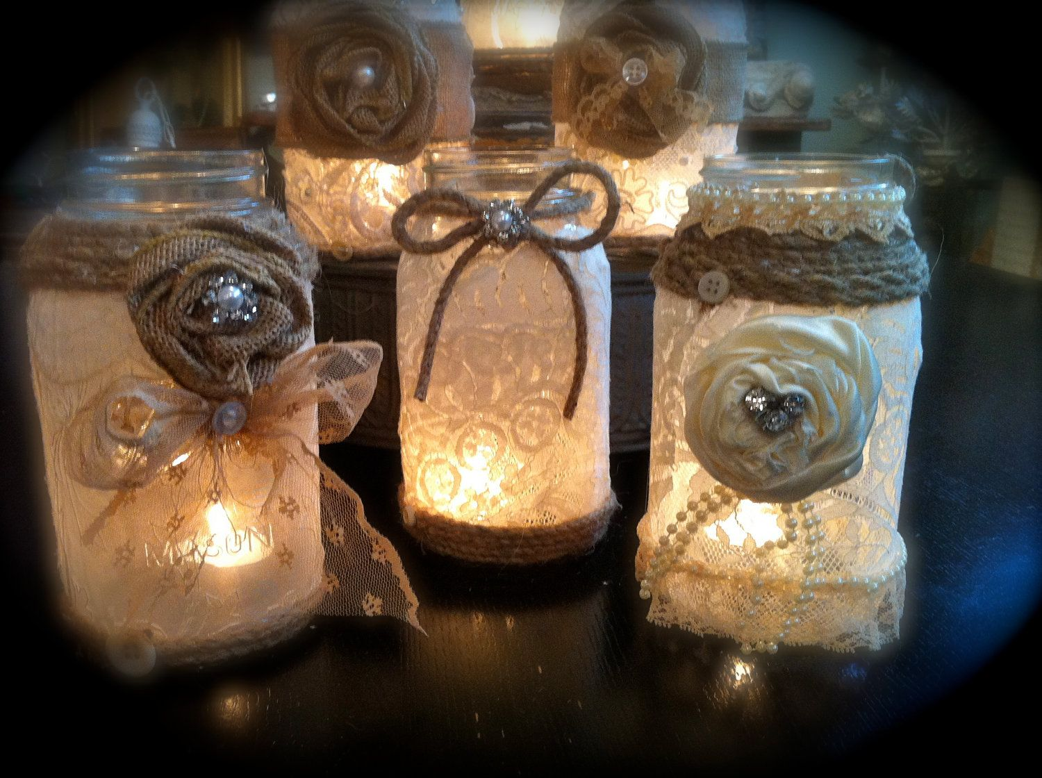 JD (lace With Fake Tea Lights) These Are Ridiculously Cute Mason Jars. Use  Them For Centerpieces. We Love The Lace And Burlap Combo! Decorating ...