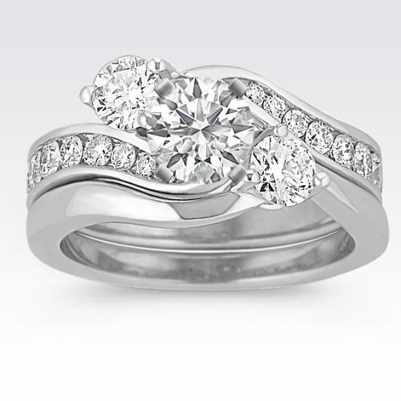 Three Stone Swirl Diamond Wedding Set Diamond Wedding Sets Morganite Engagement Ring Set Unique Engagement Rings