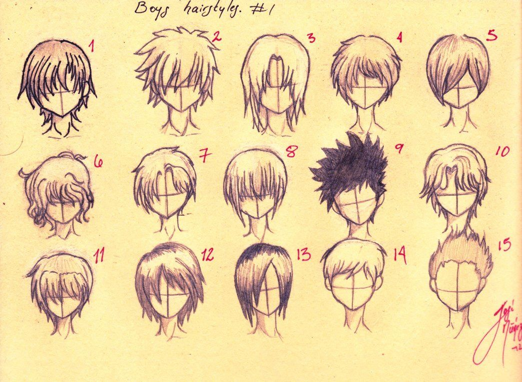 Anime boys Hairstyles: all fifteen. First tutorial by ~JoseN16 on deviantART - Anime Boys Hairstyles: All Fifteen. First Tutorial By ~JoseN16 On