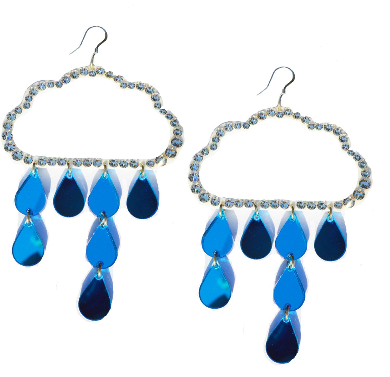 Blue Amp White Acrylic Cloud Amp Raindrop Earrings Available