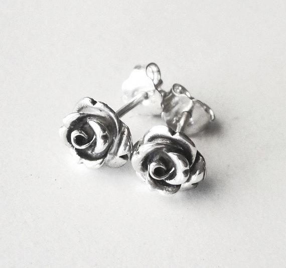 Silver Rose Earrings Stud Flower Dainty Oxidized Ear Diamondstudearrings