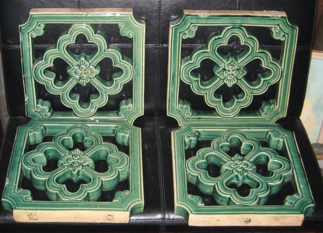 Antique chinese green glazed garden tile lot of 4 15x15x1 34 antique chinese green glazed garden tile lot of 4 15x15x1 34 dailygadgetfo Images