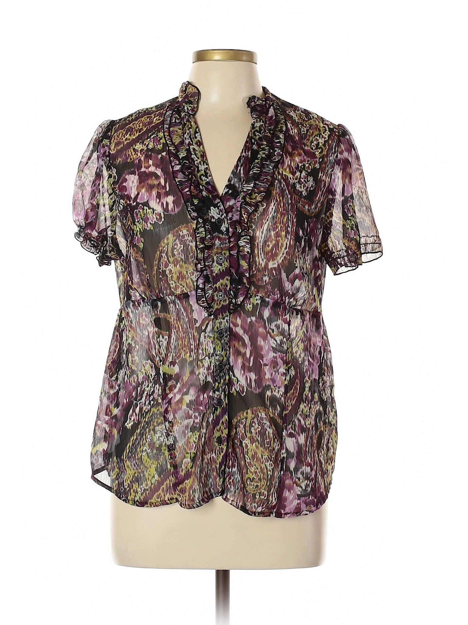 I N Studio Short Sleeve Blouse Purple Print V Neck Women S Tops Size X Large Clothes