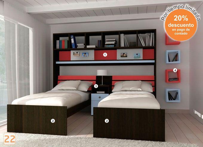 Mueble escritorio placard cama juveniles infantiles for Muebles infantiles juveniles