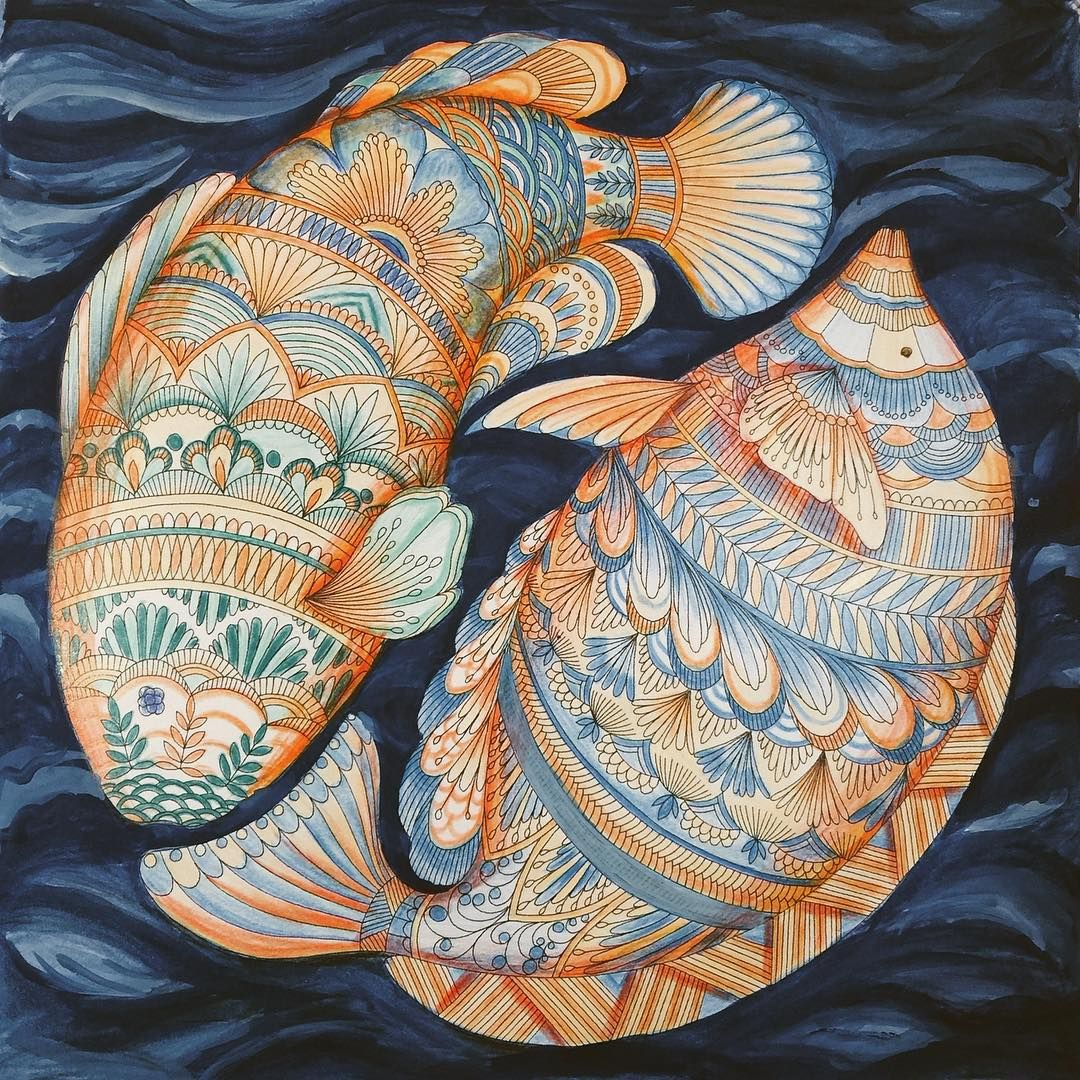 Fish From Animal Kingdom Mais ColouringColoring BooksAdult ColoringAnimal KingdomJohanna BasfordHanoiBlue