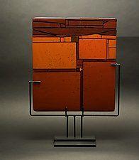 "Red in Between by Vicky Kokolski and Meg Branzetti (Art Glass Sculpture) (19"" x 15.5"")"