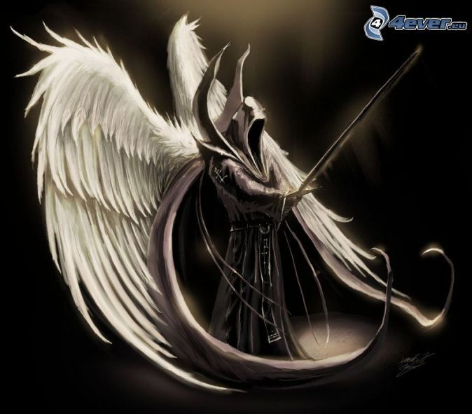 Ange De La Mort Demon Ailes Blanches Monstre Mal Epee Peur