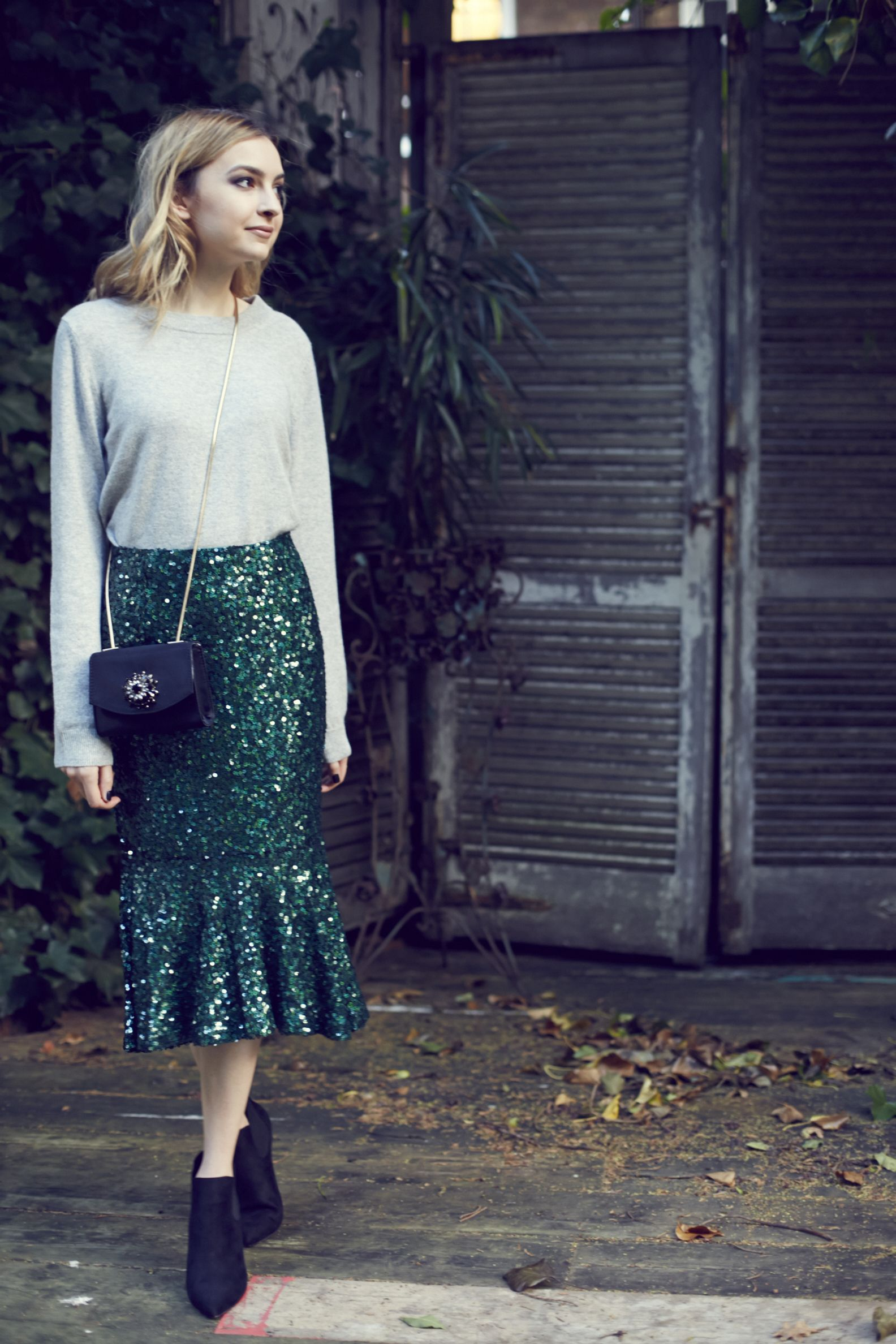 Coco's Tea Party styling a sequin mermaid skirt and grey knit... #johnlewisedit