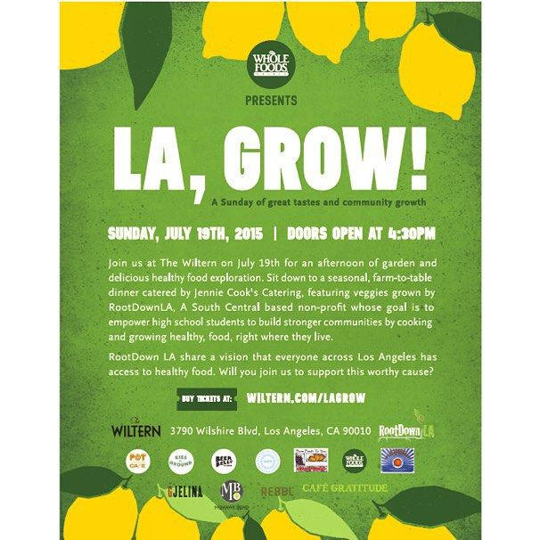 Come out to @thewiltern to support urban agriculture in LA this Sunday July 19th. All #rollinggreens customers get $10 off tickets with the promo code MYLAGROWS. #dtla #summer #sunday #mylagrows