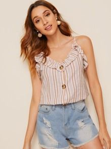 Ruffle Foldover Button Front Striped Cami Top 6.00 USD #stripedcamitops Ruffle Foldover Button Front Striped Cami Top 6.00 USD #stripedcamitops