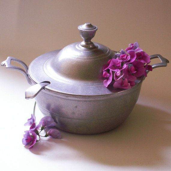 "soup tureen | Vintage ""Pewter"" Wilton Armetale Soup Tureen and Ladle (1983)"