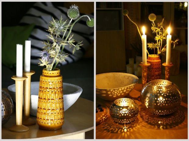Am Tag und am Abend, Tags Tisch, Kerzen, Deko, Wohnzimmer Crafts - wohnzimmer deko gold