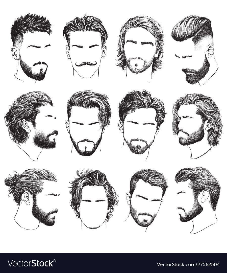Highly Detailed Hand Drawn Mens Hairstyles Download A Free Preview Or High Quality Adobe Il In 2020 Mens Hairstyles Thick Hair Hair And Beard Styles Thick Hair Styles