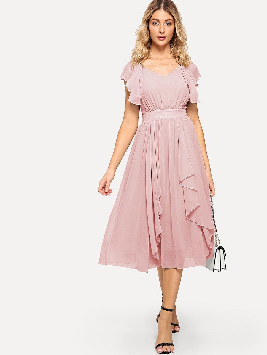 Wide Waist Solid Ruffle Dress Shein Sheinside Trendy Dress Outfits Dresses Evening Dresses Short [ 1199 x 900 Pixel ]