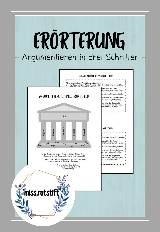 Argumentieren In Drei Schritten Erorterung Poster Und Argumenttypen Unterrichtsmaterial Im Fach Deutsch In 2020 Handout Unterrichtsmaterial Deutsch Unterricht