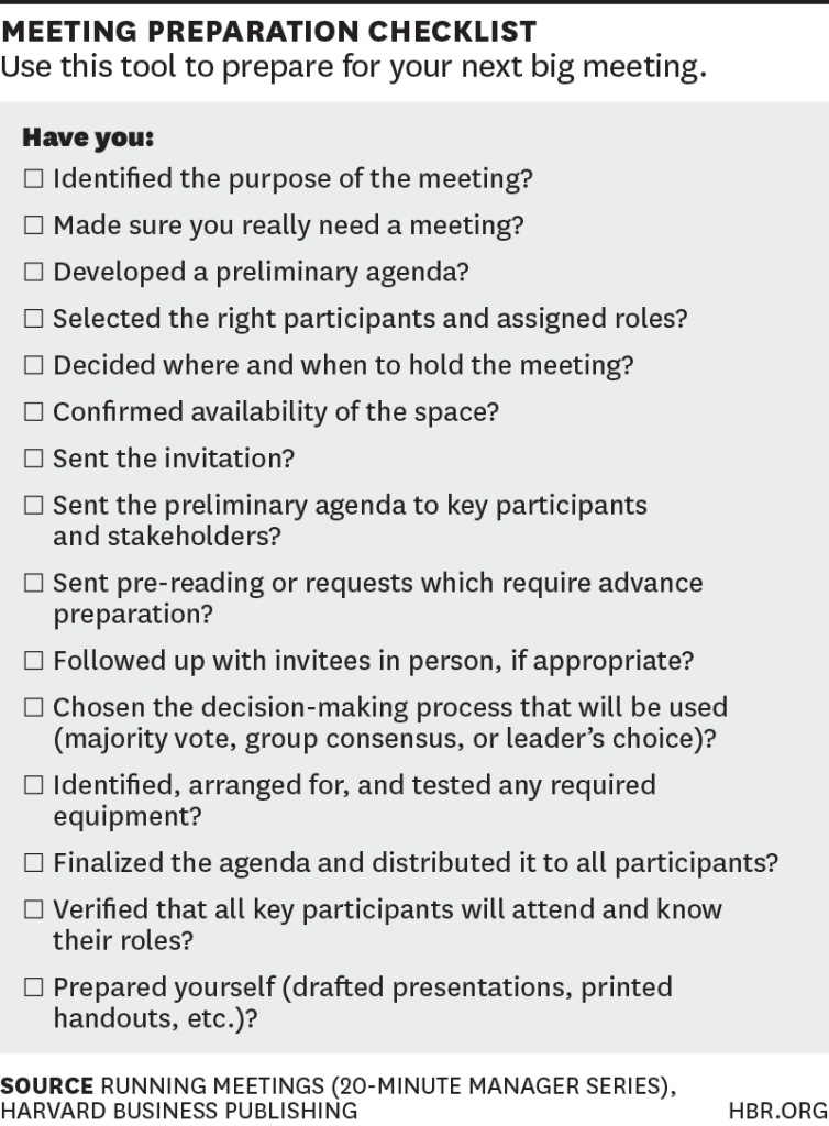 Management Meeting Agenda Template A Checklist For Planning Your Next Big Meeting  Business Project .