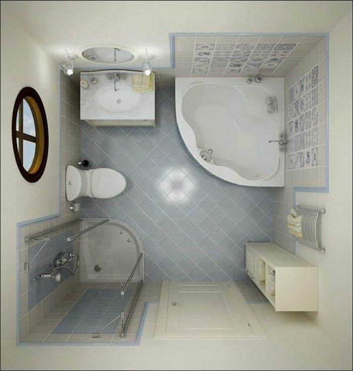 salle d\'eau 3m2, comment bien meubler une petite salle de bain, sol ...