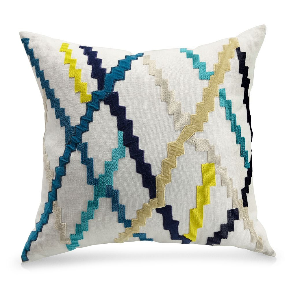 Mitchell gold bob williams zig zag embroidered hand beaded pillow