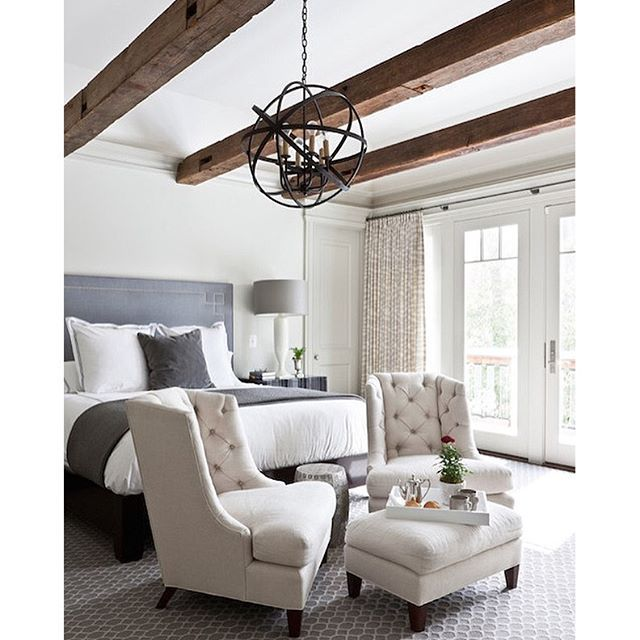 Beautiful Bedroom Sitting Areas: Beautiful Neutral Bedroom With Wooden Beamed Ceilings