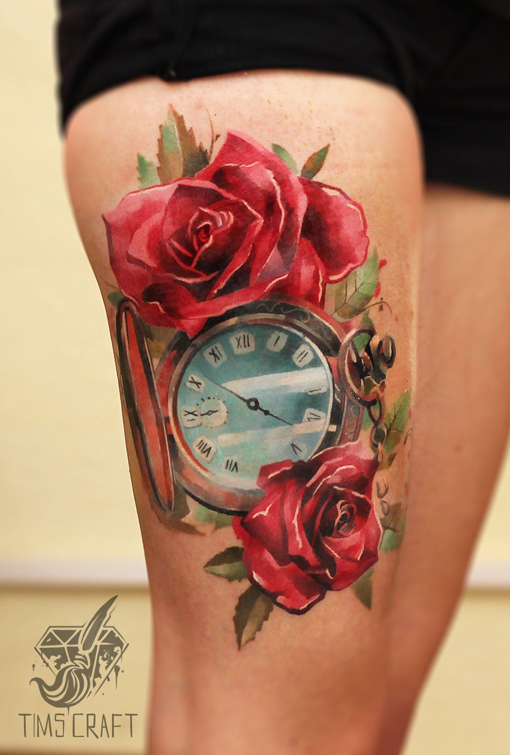 Clock forearm black rose sleeve tattoo - Watercolor Roses And Clock Thigh Tattoo