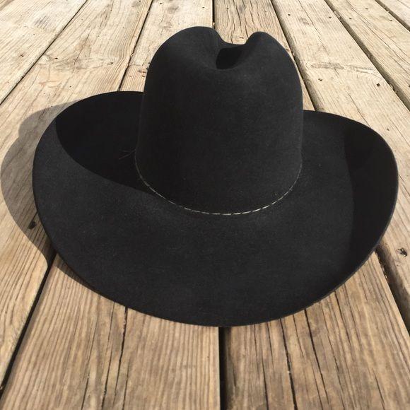 2d1c231b77bce Black Stetson Cowboy Hat Size 7 1 8