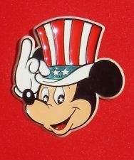 ef254136609 Disney July 4th Pin Button Mickey Mouse Uncle Sam Patriotic Stars and  Stripes