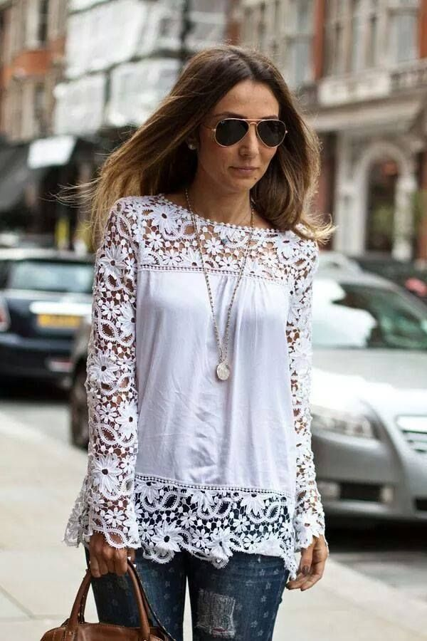 Aliexpress.com : Buy Women white lace sleeve and chiffon patchwork shirt  fashion blouse CS4594