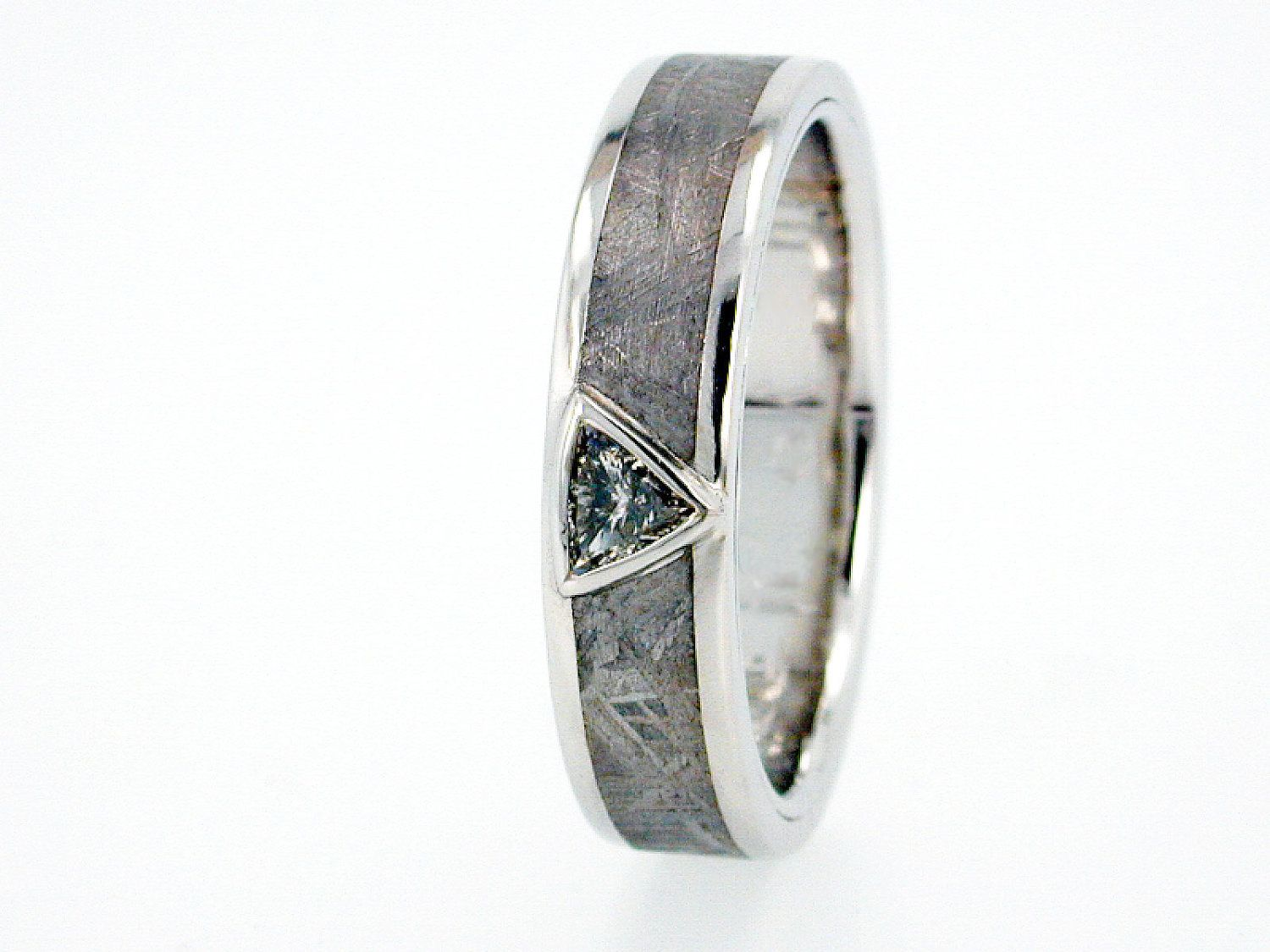 Trillion Cut Diamond Engagement Ring Or Meteorite Wedding Ring For Men,  Platinum Wedding Band