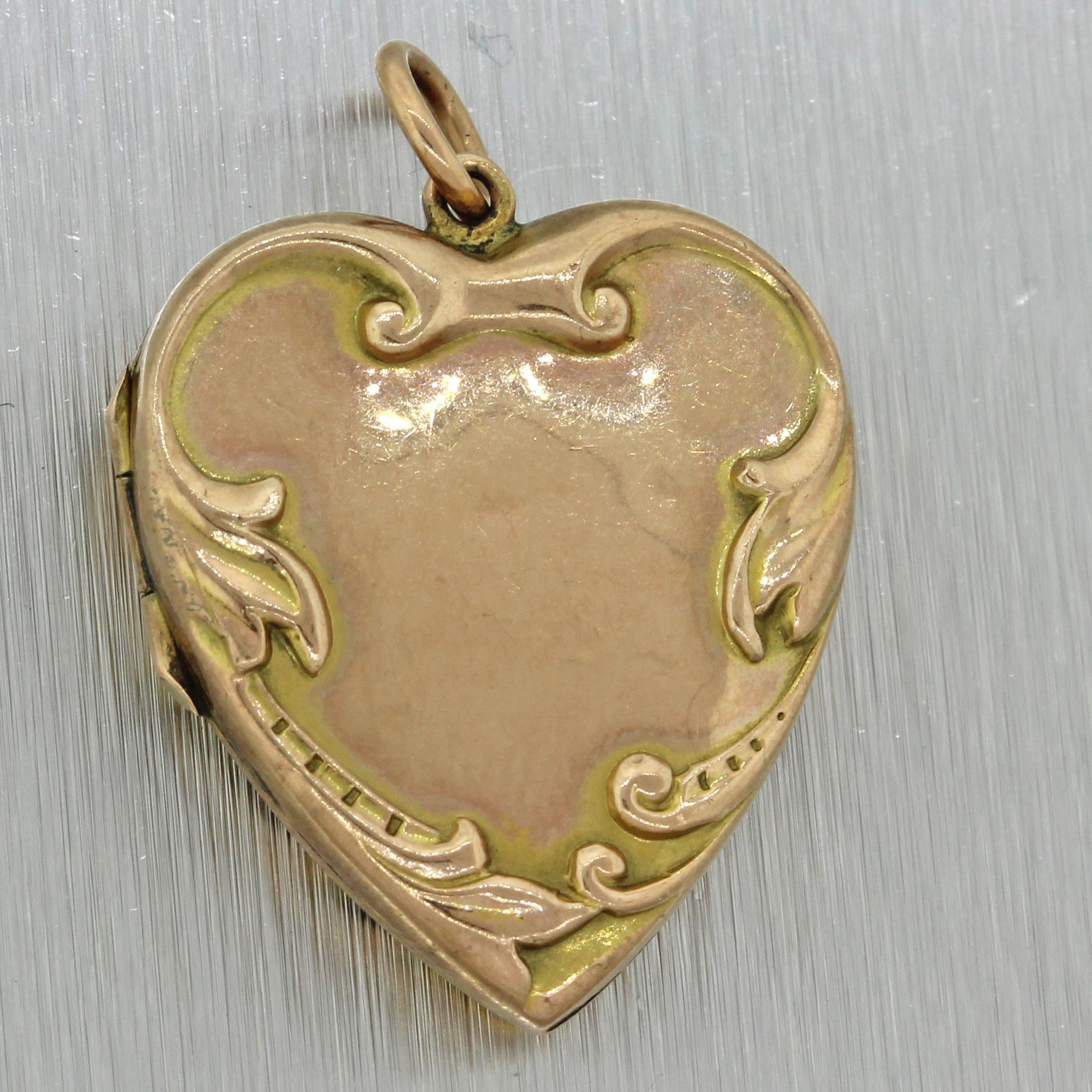 Antique victorian estate 9ct solid yellow gold heart locket pendant 1880s antique victorian estate 9ct solid yellow gold heart locket pendant mozeypictures Images