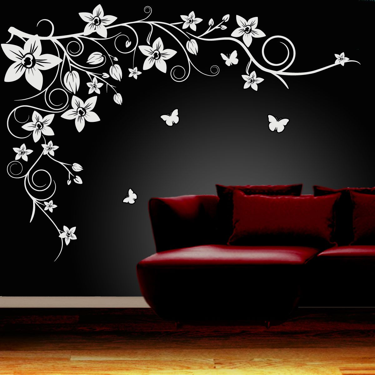 Wall Art Ideas Design Black Flower Wall Art Simple Themes - Custom vinyl wall decals flowers