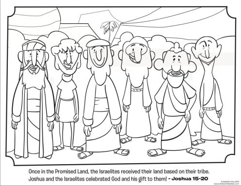 kids coloring page from whats in the bible featuring the 12 tribes from joshua 15