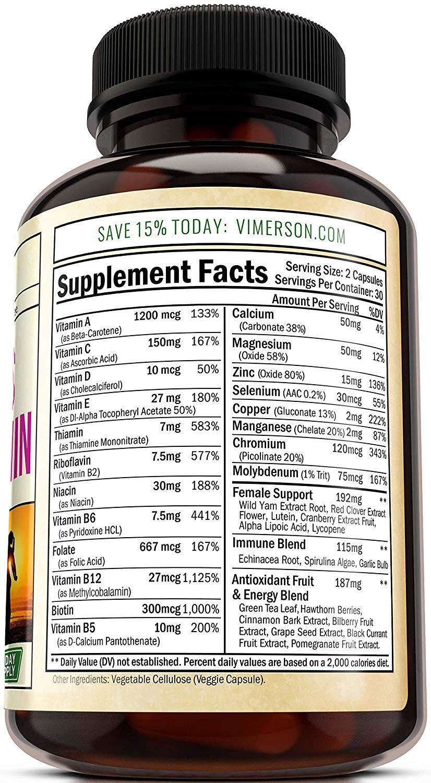 Women S Daily Multivitamin Multimineral Supplement Chromium Magnesium Biotin Zinc Calcium Green Tea Antioxida In 2020 Nootropics Multivitamin Supplements Brain Booster