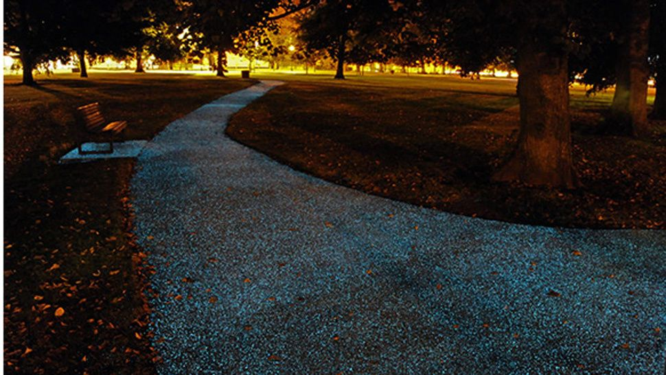 Go UK! So this is awesome, no need for street lamps anymore with these glow in the dark sidewalks!