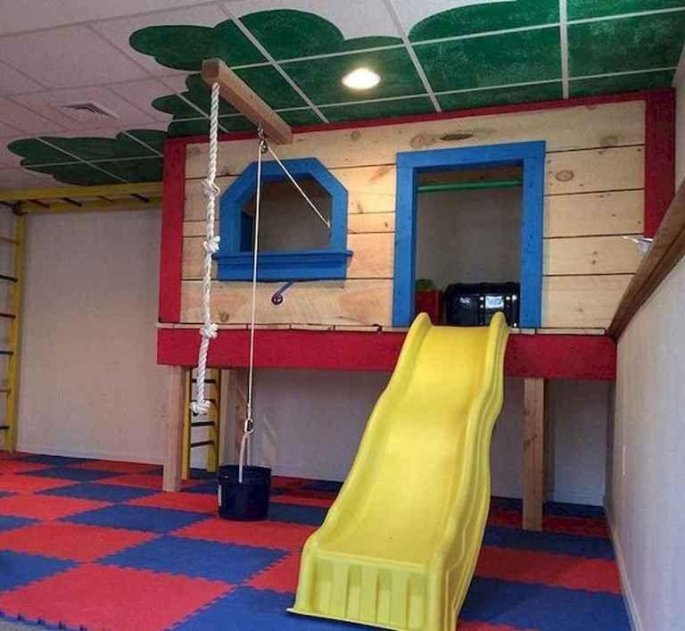33 Stunning Basetment Playroom Ideas for Kids in 2020   Basement remodeling. Kids basement. Unfinished basement playroom