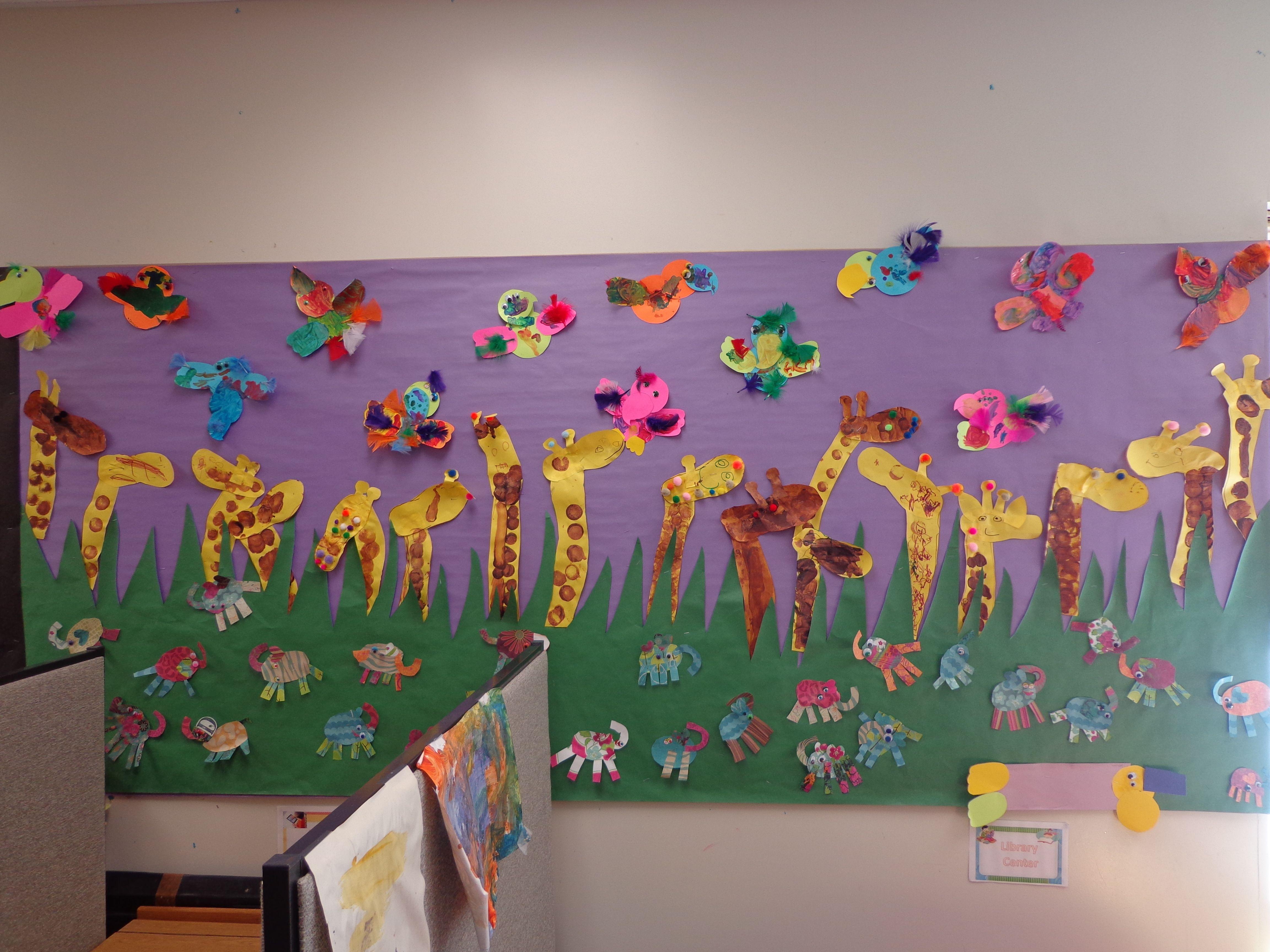 Best paint colors for preschool classrooms - Preschool Jungle Theme Bulletin Board Giraffes Parrots Elephants