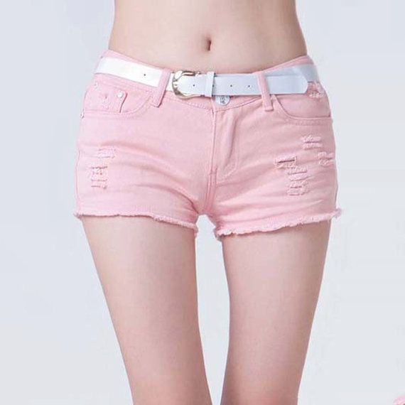 Pink Color Denim Shorts for Women  Summer Shorts Candy by PIXYLEG