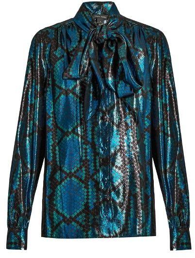c9c8e33c3ab6f MARC JACOBS Python silk-blend lamé blouse Tie Neck Blouse