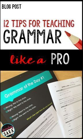Blog Post - 12 Tips for Teaching Grammar like a Pro - ideas for English teachers in middle and high school! Post - 12 Tips for Teaching Grammar like a Pro - ideas for English teachers in middle and high school!